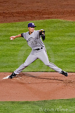 Baseball - Greinke with the Pitch! Editorial Stock Photo