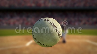 Baseball Hit in Super Slow Motion. Camera Following Baseball Ball in Slow Motion