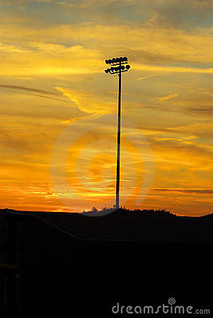 Baseball Lights at sunset