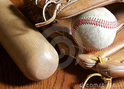 Baseball, mitt and bat