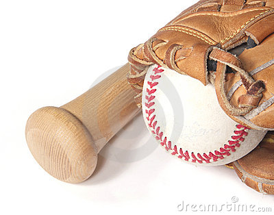 Baseball, mitt and bat on white