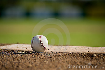 Baseball on Mound Stock Photo