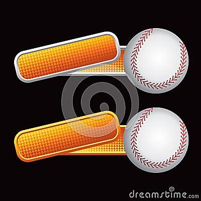 Baseball on orange tilted banners