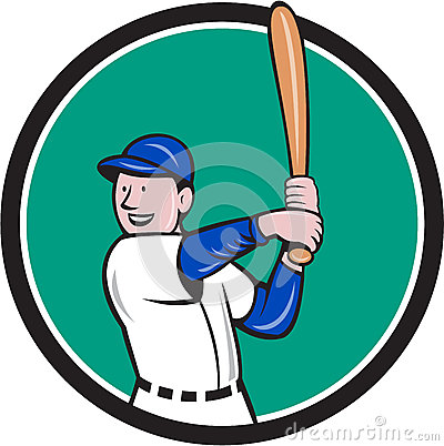 Baseball Player Batting Stance Circle Cartoon Stock Vector ...