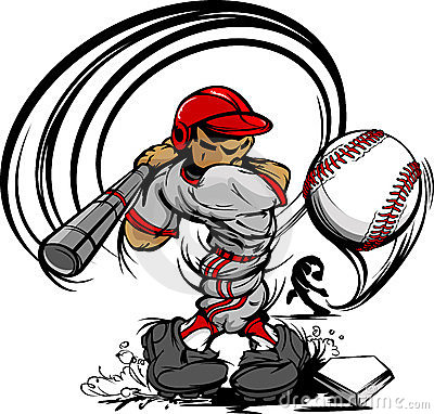 Free Baseball Player Cartoon Swinging Bat Royalty Free Stock Photo - 23391325