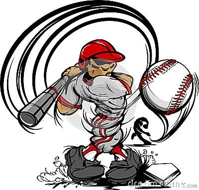 Baseball Player Cartoon Swinging Bat