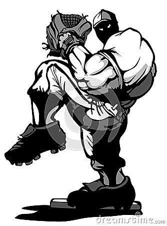 Baseball Player Pitcher Vector Cartoon