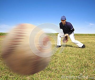 Baseball player ready catching