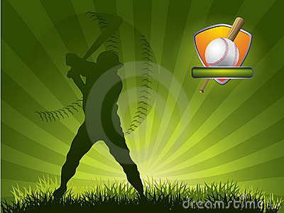 Baseball player strikes the ball