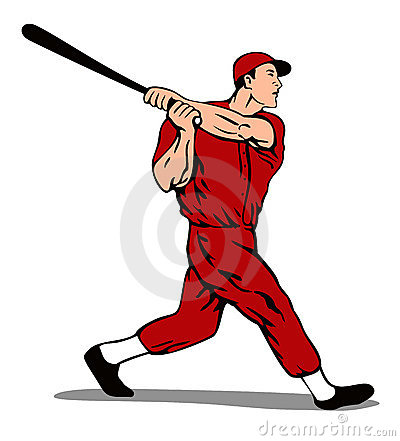 Baseball player striking