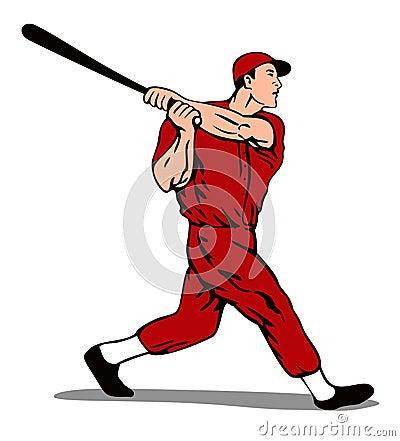 Baseball player striking