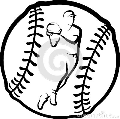 Baseball Player Throwing with Text & Ball