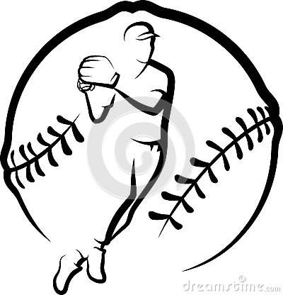 Baseball Player Throwing with Text & Stylized Ball