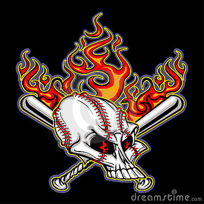Baseball Skull with Flaming Bats Vector