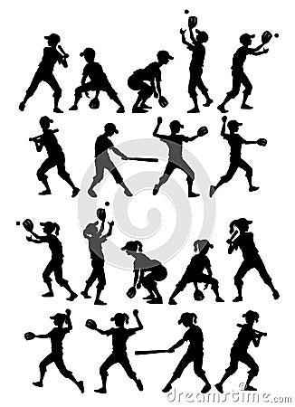 Baseball Softball Silhouettes Kids Boys and Girls
