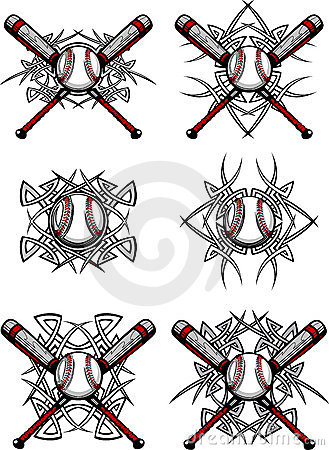 Free Baseball / Softball Tribal Vector Images Royalty Free Stock Photo - 17237385