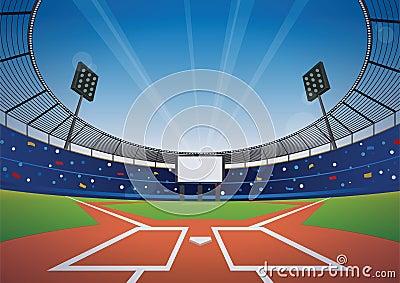 Baseball stadium background Vector Illustration