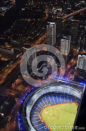 Baseball stadium with skyscrapers