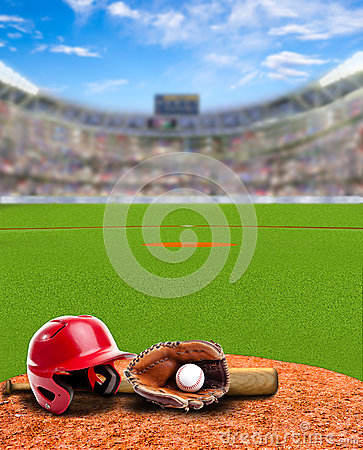 Free Baseball Stadium With Equipment And Copy Space Royalty Free Stock Photography - 91809887