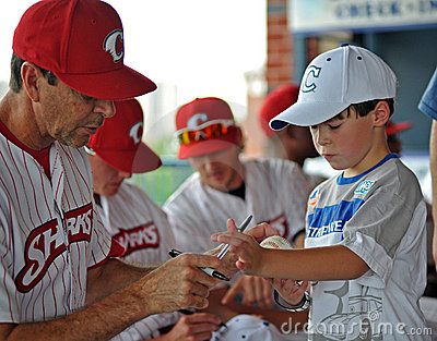 Baseball team autographs - Camden Riversharks Editorial Stock Image