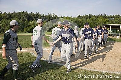 Baseball teams shaking hands Editorial Photo