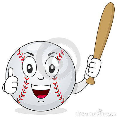 Baseball Thumbs Up Character with Bat