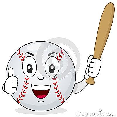 Baseball Thumbs Up Character with Bat