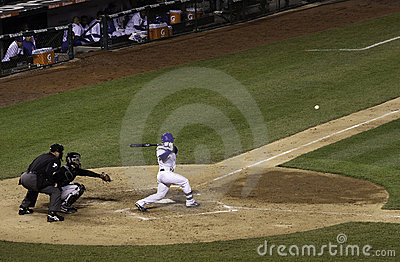 Baseball - Wrigley Field Ball Hit to Left Side Editorial Stock Photo