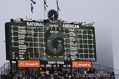 Baseball - Wrigley Field s Famous Scoreboard Editorial Stock Image