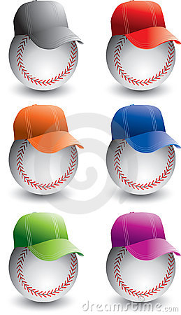 Baseballs and baseball caps