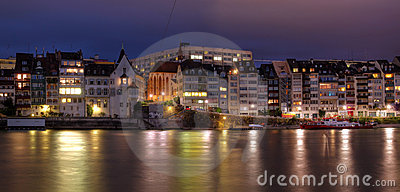 Basel waterfront on Rhine River, Switzerland