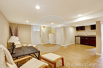 basement mother in law apartment living room and kitchen area stock