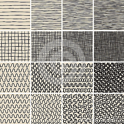 Free Basic Doodle Seamless Pattern Set No.1 In Black And White Royalty Free Stock Images - 41186589