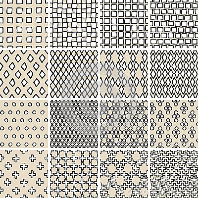 Basic doodle seamless pattern set no 3 in black and white for Basic doodle designs