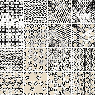Basic doodle seamless pattern set in black and white for Basic doodle designs