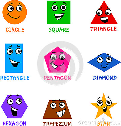 Basic Geometric Shapes With Cartoon Faces Stock