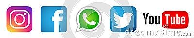 Set of popular social media logos icons Instagram Facebook Twitter Youtube WhatsApp element vector on white background Cartoon Illustration