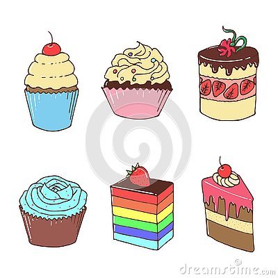 Sweet And Cakes, Cute Illustration Vector Illustration