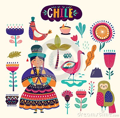 Collection of Chile`s symbols. Vector Illustration