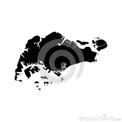 Vector isolated illustration icon with simplified map of Republic of Singapore. Vector Illustration