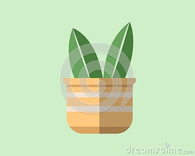 Flat design of a plant in a pot Stock Photo