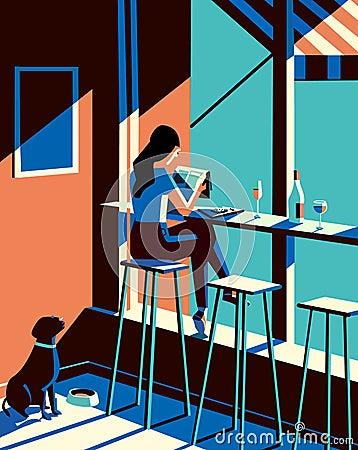 Girl reading news paper illustration Cartoon Illustration