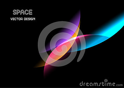 Abstract Shining Wave on Black. Vector Illustration