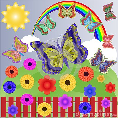 Summer sunny day with a bright multi-colored rainbow, easy white clouds, beautiful flowers and carefree flitting butterflies. Vector Illustration