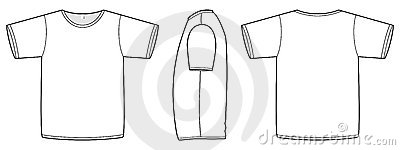 Basic vector unisex T-shirt template illustration.