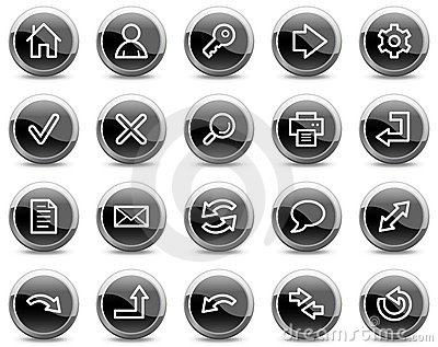 Basic web icons, black glossy circle buttons