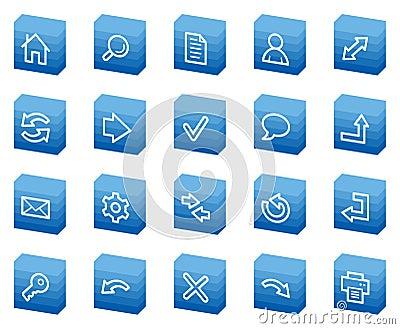 Basic web icons, blue box series