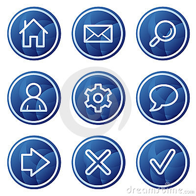 Basic web icons, blue circle buttons series