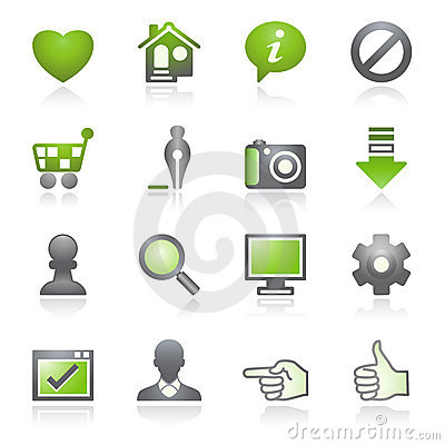 Free Basic Web Icons. Gray And Green Series. Stock Photography - 15975112