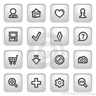 Free Basic Web Icons On Gray Buttons. Royalty Free Stock Photography - 16051007